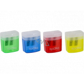 Spoko Pencil sharpener double with lid and container 35 x 20 x 40 mm 1 piece mix of colors