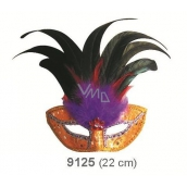 Golden ball mask with black feathers 30 cm suitable for adults