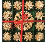 Straw ornaments in a box of 52 pieces