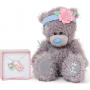 Me to You Teddy bear with headband + chain with 2 pendants 17,5 cm