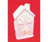 Porcelain house LED illuminated height 11 cm