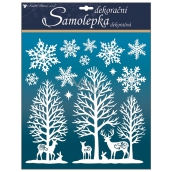 Room Decor White stickers with glitter woods with snowflakes 38 x 31 cm