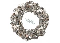 A vase of gray wicker, twisted from twigs 42 cm