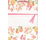 Ditipo Gift kraft bag medium 22 x 10 x 29 cm pink flowers