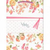 Ditipo Gift Paper Bag Medium Kraft Pink Flowers 22 x 10 x 29 cm