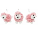 Pink plush sheep for hanging and standing 7 cm