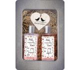 Bohemia Gifts Happy Home Shower Gel for Women 250 ml + hair shampoo 250 ml + wooden heart 1 piece, tin box cosmetic set