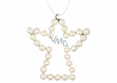 Metal hanging angel with white pearls 9 cm