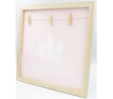 Nekupto Home Decor Wooden board with 3 pegs pink 30 x 30 cm
