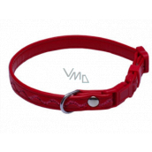 B&F Collar Leatherette adjustable stitched ripples red 1.2 x 18 - 28 cm