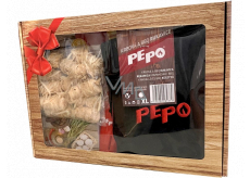 Pe-Po Gift package 2021 fireplace and BBQ gloves 1 piece + wood wool lighter 12 pieces + windproof flexi lighter 1 piece + matches 10 cm long 50 pieces, gift set