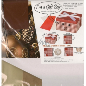 Angel Folding gift box with ribbon brown Christmas flask folding 224 x 224 x 127 mm 1 piece