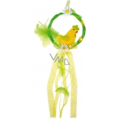 Wreath with a yellow cock for hanging 16 cm