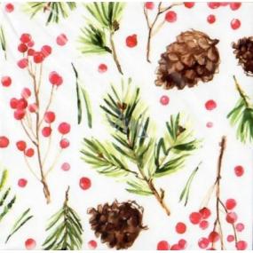 Nekupto Christmas Gift Cards pine cones 6.5 x 6.5 cm 6 pieces
