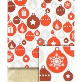 Nekupto Christmas Wrapping Paper White - red, silver, brown flasks 0.7 x 5 m