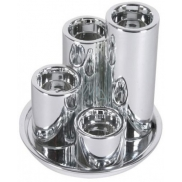 Ceramic candle holder 4pcs, silver tray for tea candle 3304