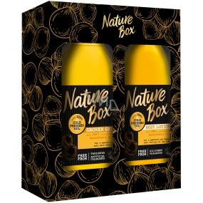 Nature Box Macadamia shower gel with 100% cold pressed oil, suitable for vegans for delicate skin 385 ml + body lotion 385 ml, cosmetic set