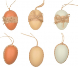 Eggs plastic of natural color for hanging 6 cm, 6 pieces in a bag