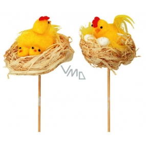 Hen on a natural nest recess 8 cm + skewers