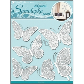 Room Decor Wall sticker butterflies with white lace wings 40 x 31 cm 1 arch