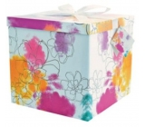 Gift box folding with ribbon Colorful flowers L 22 x 22 x 13 cm