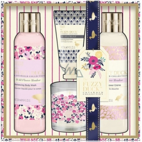 Baylis & Harding Forest bell and Flower meadow liquid body soap 250 ml + shower cream 250 ml + hand cream 30 ml + scented candle, cosmetic set