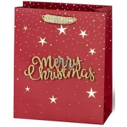 BSB Luxury Christmas paper gift bag medium burgundy with 3D Merry Christmas lettering 23 x 19 x 9 cm VDT 004-A5