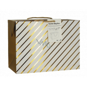 Anděl Gift paper bag box 18 x 12 x 9 cm lockable, with gold stripes