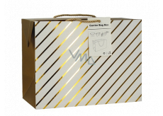 Anděl Bag gift box, closable, with gold stripes 18 x 12 x 9 cm