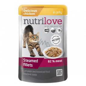 Nutrilove Stewed fillets with juicy chicken in jelly complete food for cats pocket 85 g