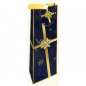 Nekupto Gift paper bag for a bottle 33 x 10 x 9 cm dark blue with a gold ribbon Christmas WLH