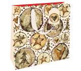 Nekupto Gift paper bag luxury 23 x 23 cm Christmas wood WLIM 1973