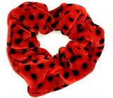 Bartoň Velvet rubber band medium red with black polka dots 3.5 x 9 cm