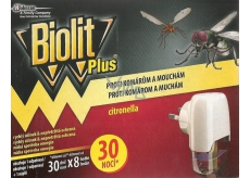 Biolit Plus Electric vaporizer with lemon smell against mosquitoes and flies 30 nights movement + refill 31 ml
