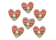 Gingerbread from felt felt with clip 4 cm, 6 pieces