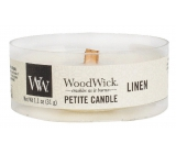 WoodWick Linen - A pure scented candle with a petite wooden knot 31 g