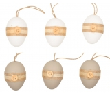 Eggs with a plastic button for hanging 6 cm, 6 pieces in a bag