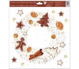 Room Decor Window foil without glue 30 x 33.5 cm, gingerbread Wreath