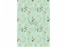 Ditipo Gift wrapping paper 70 x 100 cm Green menthol with flowers 2 sheets