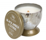 WoodWick Black Amber & Citrus - Artisan Black Ambergris and Citrus Scented Candle with Wooden Wick and Tin Can Lid 240.9 g