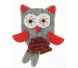 Owl from fillet on clip 6 cm gray