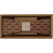 Bohemia Gifts Wooden bow tie Mustache 12.5 cm