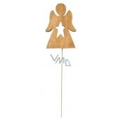 Wooden brown angel 8 cm + wire