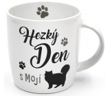 Nekupto Hafani ceramic mug white Cat 300 ml