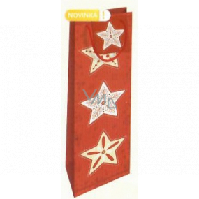 Nekupto Gift paper bag for bottle 33 x 10 x 9 cm red with stars Christmas WLH