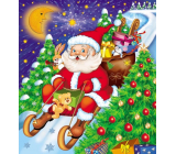 Press Plastic bag 45 x 50 cm with Santa Claus ear on sleigh