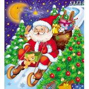 Press Plastic bag 45 x 50 cm with Santa Claus ear on sleigh