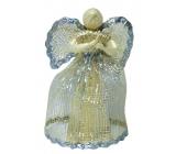 Abaca angel with silver trim 15 cm