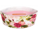 WoodWickIllustrated Moms Rose - Rose scented candle with wooden wide knot and glass lid ship 453 g