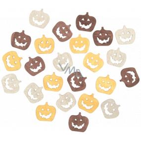 Pumpkin wooden beige-yellow-brown 2 cm 24 pieces
